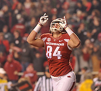 NWA Democrat-Gazette/MICHAEL WOODS • Arkansas tight end Hunter Henry celebrates after scoring a touchdown in the 3rd quarter of Saturday nights game at Razorback Stadium November 21, 2015.