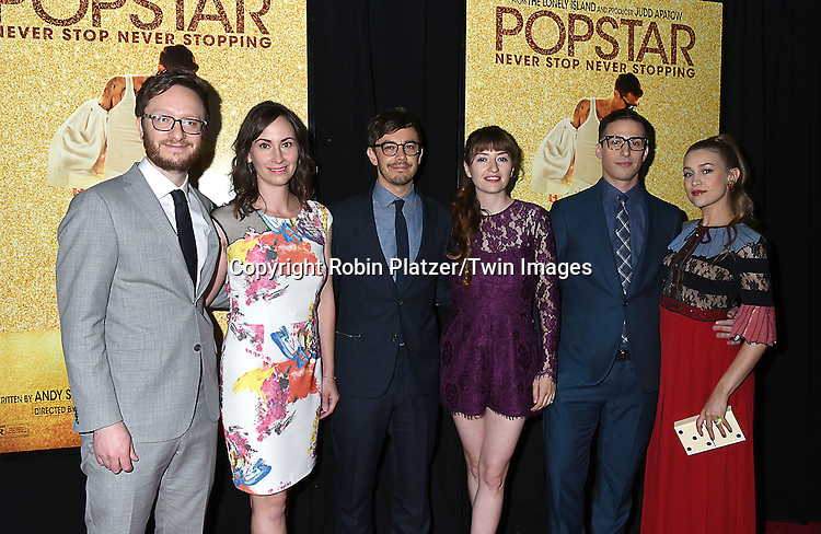 Akiva Schaffer,and wife Liz Cackowsk, Jorma Taccone and wife  Marielle Heller, Andy Samberg and wife Joanna Newsom attend the  World Premiere of&quot; Popstar: Never Stop Never Stopping&quot; on May 24, 2016 at the AMC Loews Lincoln Square in New York City, New York, USA.<br /> <br /> photo by Robin Platzer/Twin Images<br />  <br /> phone number 212-935-0770