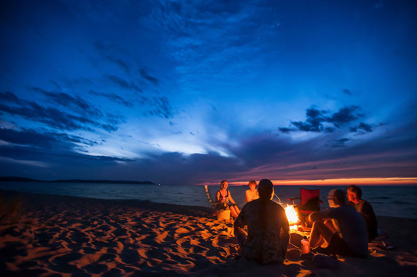 Beach bonfire at Good Harbor Beach of Sleeping Bear Dunes National Lakeshore near Traverse City, Michigan.