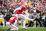 Wisconsin Badgers kicker Rafael Gaglianone (27) kicks the ball during an NCAA College Big Ten Conference football game against the Iowa Hawkeyes Saturday, November 11, 2017, in Madison, Wis. The Badgers won 38-14. (Photo by David Stluka)