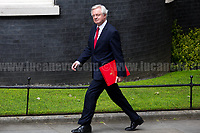 David Davis MP (Secretary of State for Exiting the European Union).<br /> <br /> London, 12/06/2017. Today, Theresa May's reshuffled Cabinet met at 10 Downing Street after the General Election of the 8 June 2017. Philip Hammond MP - not present in the photos - was confirmed as Chancellor of the Exchequer. <br /> After 5 years of the Coalition Government (Conservatives &amp; Liberal Democrats) led by the Conservative Party leader David Cameron, and one year of David Cameron's Government (Who resigned after the Brexit victory at the EU Referendum held in 2016), British people voted in the following way: the Conservative Party gained 318 seats (42.4% - 13,667,213 votes &ndash; 12 seats less than 2015), Labour Party 262 seats (40,0% - 12,874,985 votes &ndash; 30 seats more then 2015); Scottish National Party, SNP 35 seats (3,0% - 977,569 votes &ndash; 21 seats less than 2015); Liberal Democrats 12 seats (7,4% - 2,371,772 votes &ndash; 4 seats more than 2015); Democratic Unionist Party 10 seats (0,9% - 292,316 votes &ndash; 2 seats more than 2015); Sinn Fein 7 seats (0,8% - 238,915 votes &ndash; 3 seats more than 2015); Plaid Cymru 4 seats (0,5% - 164,466 votes &ndash; 1 seat more than 2015); Green Party 1 seat (1,6% - 525,371votes &ndash; Same seat of 2015); UKIP 0 seat (1.8% - 593,852 votes); others 1 seat. <br /> The definitive turn out of the election was 68.7%, 2% higher than the 2015.<br /> <br /> For more info about the election result click here: http://bbc.in/2qVyNRd &amp; http://bit.ly/2s9ob51<br /> <br /> For more info about the Cabinet Ministers click here: https://goo.gl/wmRYRd