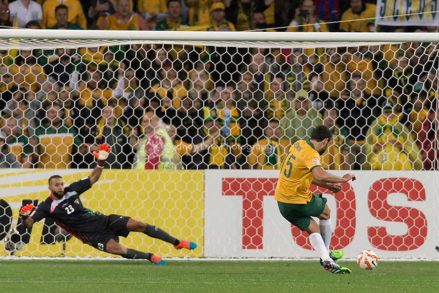 Mile JEDINAK of Australia scores with his penalty in match 1 of the 2015 AFC Asian Cup at the Melbourne Rectangular Stadium on 9 January 2015. Australia def Kuwait 4-1
