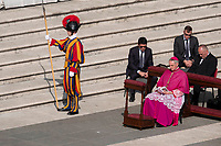 Vatican City, October 13, 2019. Archbishop Georg Gänswein, Prefect of the Prefecture of the Papal Household attends a canonization Mass in St. Peter's Square at the Vatican. Pope Francis on Sunday canonized Cardinal John Henry Newman, the 19th-century Anglican convert who became an immensely influential, unifying figure in both the Anglican and Catholic churches. Francis presided over Mass on Sunday in a packed St. Peter's Square to declare Newman and four women saints. (Antonello Nusca/BuenavistaPhoto)