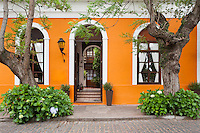 Uruguay, Colonia de Sacramento, Trees and orange facade of historic building in old town