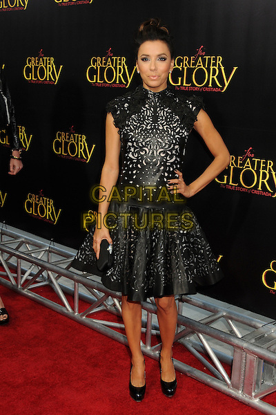 "Eva Longoria.""For Greater Glory"" Los Angeles Premiere held at the AMPAS Samuel Goldwyn Theater, Beverly Hills, California, USA..May 31st, 2012.full length dress clutch bag black leather perforated pattern hand on hip.CAP/ADM/BP.©Byron Purvis/AdMedia/Capital Pictures."
