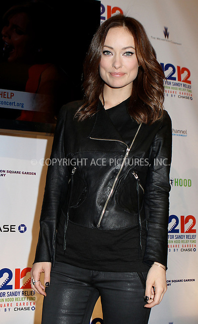 WWW.ACEPIXS.COM....December 12 2012, New York City....Olivia Wilde at the '12-12-12' concert benefiting The Robin Hood Relief Fund to aid the victims of Hurricane Sandy at Madison Square Garden on December 12, 2012 in New York City.........By Line: Nancy Rivera/ACE Pictures......ACE Pictures, Inc...tel: 646 769 0430..Email: info@acepixs.com..www.acepixs.com