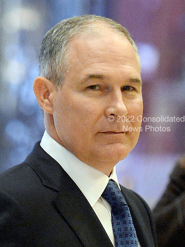 Attorney General Scott Pruitt (Republican of Oklahoma) is seen in the lobby of the Trump Tower in New York, New York, on November 28, 2016. <br /> Credit: Anthony Behar / Pool via CNP