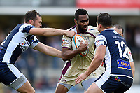 Andy Bulumakau of Doncaster Knights takes on the Yorkshire Carnegie defence. Greene King IPA Championship match, between Yorkshire Carnegie and Doncaster Knights on September 17, 2017 at Headingley Stadium in Leeds, England. Photo by: Patrick Khachfe / Onside Images