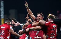 Crusaders players react after the final whistle in the 2018 Super Rugby final between the Crusaders and Lions at AMI Stadium in Christchurch, New Zealand on Sunday, 29 July 2018. Photo: Joe Johnson / lintottphoto.co.nz