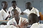 Girls in discussion in a class at the Loreto Secondary School in Rumbek, South Sudan. The school is run by the Institute for the Blessed Virgin Mary--the Loreto Sisters--of Ireland.