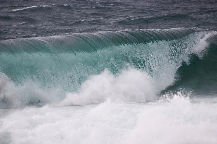 Large Lake Superior waves crash on the Keweenaw Peninsula near Copper Harbor Michigan.