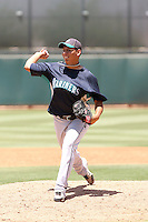 Jose Valdivia #39 of the Seattle Mariners plays in an extended spring training game against the Cleveland Indians at the Indians minor league complex on May 14, 2011  in Goodyear, Arizona. .Photo by:  Bill Mitchell/Four Seam Images.