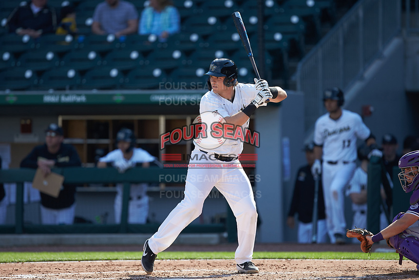 Bobby Seymour (3) of the Wake Forest Demon Deacons at bat against the Furman Paladins at BB&T BallPark on March 2, 2019 in Charlotte, North Carolina. The Demon Deacons defeated the Paladins 13-7. (Brian Westerholt/Four Seam Images)