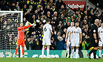 Dean Henderson of Sheffield United signals that an handball occurred in the lead up to Norwich City's first goal during the Premier League match at Carrow Road, Norwich. Picture date: 8th December 2019. Picture credit should read: James Wilson/Sportimage