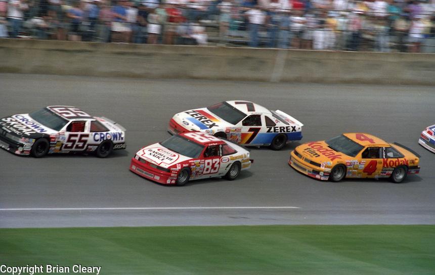 Phil Parsons Lake Speed Alam Kulwicki Rick Wilson 125 mile qualifying race crash at Daytona International Speedway on February  1989.  (Photo by Brian Cleary/www.bcpix.xom)
