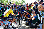 New race leader Fabio Aru (ITA) Astana faces the cameras on the line before the start of Stage 14 of the 104th edition of the Tour de France 2017, running 181.5km from Blagnac to Rodez, France. 15th July 2017.<br /> Picture: ASO/Alex Broadway | Cyclefile<br /> <br /> <br /> All photos usage must carry mandatory copyright credit (&copy; Cyclefile | ASO/Alex Broadway)