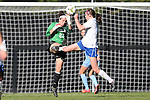 19 October 2014: North Carolina's Lindsey Harris (23) and Duke's Kelly Cobb (right). The Duke University Blue Devils hosted the University of North Carolina Tar Heels at Koskinen Stadium in Durham, North Carolina in a 2014 NCAA Division I Women's Soccer match. North Carolina won the game 3-0.
