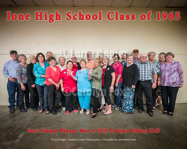 Ione High School Alumni Banquet at Evalynn Bishop Hall honoring  the graduation of the Class of 1965 50 years later. 22 of the 28 graduates attended. The six not there have passed away.<br /> <br /> Annual gathering of the graduates at the the 139th annual Ione Homecoming Parade and celebration, Main Street,  Ione, Calif.<br /> <br /> Jake Herfel, M.C. and member of the class of 1965