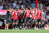 Water break for the Brentford players after twenty five minutes during Brentford vs Rotherham United, Sky Bet EFL Championship Football at Griffin Park on 4th August 2018
