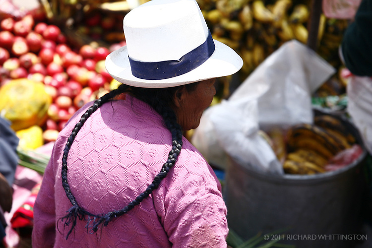 A Peruvian woman at the Pisac market.