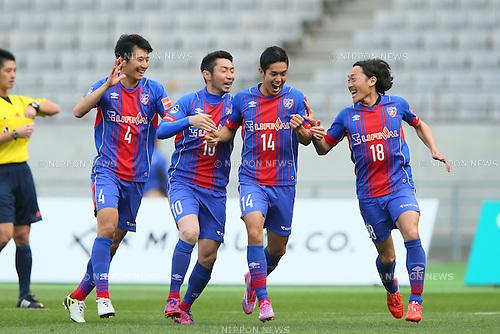 (L to R) <br /> Hideto Takahashi, <br /> Yohei Kajiyama, <br /> Yoshinori Muto, <br /> Naohiro Ishikawa (FC Tokyo), <br /> APRIL 18, 2015 - Football /Soccer : <br /> 2015 J1 League 1st stage match <br /> between F.C. Tokyo 1-2 Sanfrecce Hiroshima <br /> at Ajinomoto Stadium, Tokyo, Japan. <br /> (Photo by YUTAKA/AFLO SPORT) [1040]