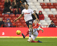 Preston North End's Lukas Nmecha battles with  Nottingham Forest's Ben Osborn<br /> <br /> Photographer Mick Walker/CameraSport<br /> <br /> The EFL Sky Bet Championship - Nottingham Forest v Preston North End - Saturday 8th December 2018 - The City Ground - Nottingham<br /> <br /> World Copyright © 2018 CameraSport. All rights reserved. 43 Linden Ave. Countesthorpe. Leicester. England. LE8 5PG - Tel: +44 (0) 116 277 4147 - admin@camerasport.com - www.camerasport.com