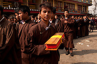 Buddhist monks at a Losar procession at a monastery in  Sikkim, India