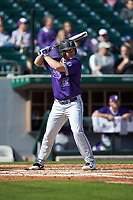 Jared Mihalik (33) of the Furman Paladins at bat against the Wake Forest Demon Deacons at BB&T BallPark on March 2, 2019 in Charlotte, North Carolina. The Demon Deacons defeated the Paladins 13-7. (Brian Westerholt/Four Seam Images)