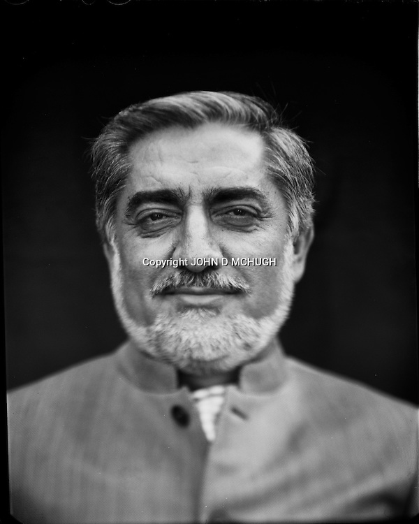 "Dr. Abdullah Abdullah, politician and runner up in last Afghanistan Presidential election, is seen in his rose garden in Kabul, 27 August 2012. This portrait was shot on a 5x4 Linhof Technika IV, circa 1959, and a Schneider Kreuznach 270mm lens, circa 1952, with front tilt, and is part of a series entitled ""Putting an Afghan face on the war."" (John D McHugh)"