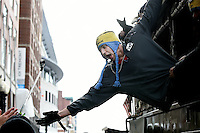 February 4, 2015 - Boston, Massachusetts, U.S. -  New England Patriots tight end Rob Gronkowski (87) reaches out to fans during a parade held in Boston to celebrate the team's victory over the Seattle Seahawks in Super Bowl XLIX. Eric Canha/CSM