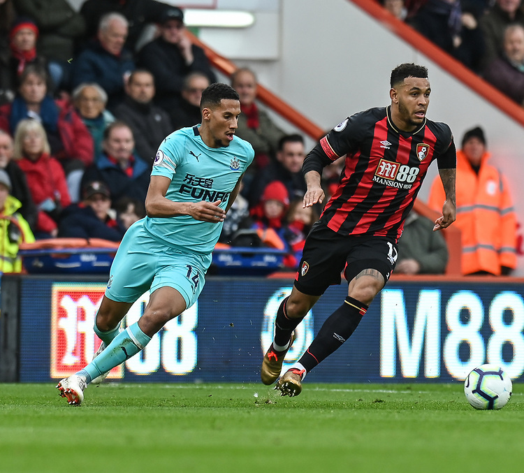 Bournemouth's Joshua King (right) under pressure from Newcastle United's Isaac Hayden (left) <br /> <br /> Photographer David Horton/CameraSport<br /> <br /> The Premier League - Bournemouth v Newcastle United - Saturday 16th March 2019 - Vitality Stadium - Bournemouth<br /> <br /> World Copyright © 2019 CameraSport. All rights reserved. 43 Linden Ave. Countesthorpe. Leicester. England. LE8 5PG - Tel: +44 (0) 116 277 4147 - admin@camerasport.com - www.camerasport.com
