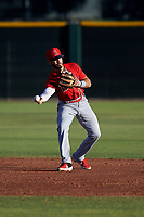 AZL Angels shortstop Jose Guzman (16) throws to second base during an Arizona League game against the AZL Giants Black at the Giants Baseball Complex on June 21, 2019 in Scottsdale, Arizona. AZL Angels defeated AZL Giants Black 6-3. (Zachary Lucy/Four Seam Images)