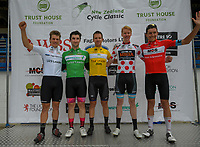 Jensen Plowright (U23), Dylan Kennett (Sprint), Aaron Gate (Tour leader), Boris Clark (KOM), Logan Griffin (Most aggressive). Stage two of the NZ Cycle Classic UCI Oceania Tour (Gladstone circuit) in Wairarapa, New Zealand on Thursday, 16 January 2020. Photo: Dave Lintott / lintottphoto.co.nz