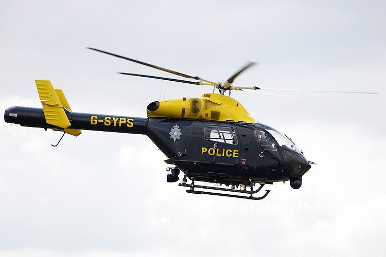 Pix: Shaun Flannery/shaunflanneryphotography.com...COPYRIGHT PICTURE>>SHAUN FLANNERY>01302-570814>>07778315553>>..19th May 2011...............South Yorkshire Police helicopter, Sierra Yankee 99.