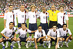 7 February 2007: US Starting eleven, pregame.  Front row (l to r): Pablo Mastroeni, Chris Rolfe, Landon Donovan, Bobby Convey, Jonathan Bornstein.  Back row (l to r): Clint Dempsey, Jimmy Conrad, Chris Albright, Ricardo Clark, Tim Howard, Carlos Bocanegra. The United States National Team defeated Mexico 2-0 at University of Phoenix Stadium in Glendale, Arizona in an International Friendly soccer match.