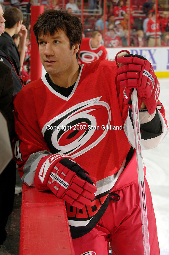Several Carolina Hurricanes players including Scott Walker used pink sticks to promote breast cancer awareness during a game with the New Jersey Devils Thursday, March 15, 2007 at the RBC Center in Raleigh, NC. The sticks were to be auctioned off later to benefit breast cancer research. New Jersey won 3-2.