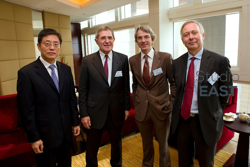 L-R: Vice Mayor of Shanghai Tu Guangshao, GDF Suez CEO and Paris Europlace Chairman Gerard Mestrallet, French Consul General in Shanghai Emmanuel Le Nain, Paris Europlace Chief Executive Arnaud de Bresson, at Shanghai / Paris Europlace Financial Forum, in Shanghai, China, on December 1, 2010. Photo by Lucas Schifres/Pictobank