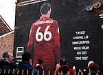 A general view of fans looking at a mural of Trent Alexander-Arnold during the Premier League match at Anfield, Liverpool. Picture date: 1st February 2020. Picture credit should read: James Wilson/Sportimage