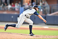 Columbia Fireflies starting pitcher Chris Viall (39) delivers a pitch during game two of a double header against the Asheville Tourists at McCormick Field on August 4, 2018 in Asheville, North Carolina. The Tourists defeated the Fireflies 8-0. (Tony Farlow/Four Seam Images)