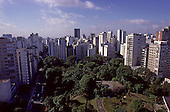 Sao Paulo, Brazil. City centre park at Praca Buenos Aires with high rise cityscape skyline.