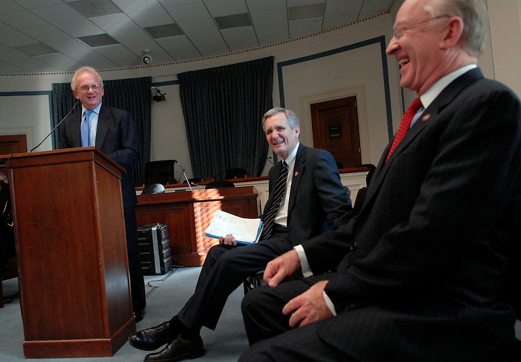 From left, Reps. Howard Berman, D-Calif., Lloyd Doggett, D-Texas, and Buck McKeon, R-Calif., speak at a news conference to urge Congress to act quickly in passing the Social Security Fairness Act, which would repeal the Government Pension Offset (GPO) and the Windfall Elimination Provision (WEP).  The GPO and WEP are provisions of Social Security law that directly affect public servants who earned both Social Security benefit and a benefit from a Social security substitute.