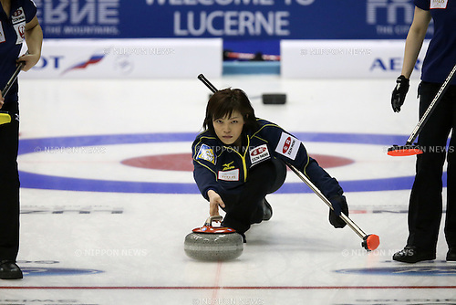 Ayumi Ogasawara (JPN), <br /> MARCH 19, 2015 - Curling : World Women's Curling Championship 2015 Round Robin match between Japan and Canada at Tsukisamu Gymnasium in Sapporo, Hokkaido, Japan. (Photo by Jun Tsukida/AFLO SPORT)