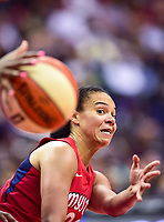 Washington, DC - July 13, 2018: Washington Mystics guard Kristi Toliver (20) makes a no look pass during game between the Washington Mystics and Chicago Sky at the Capital One Arena in Washington, DC. The Mystics defeat the Sky 88-72 (Photo by Phil Peters/Media Images International)
