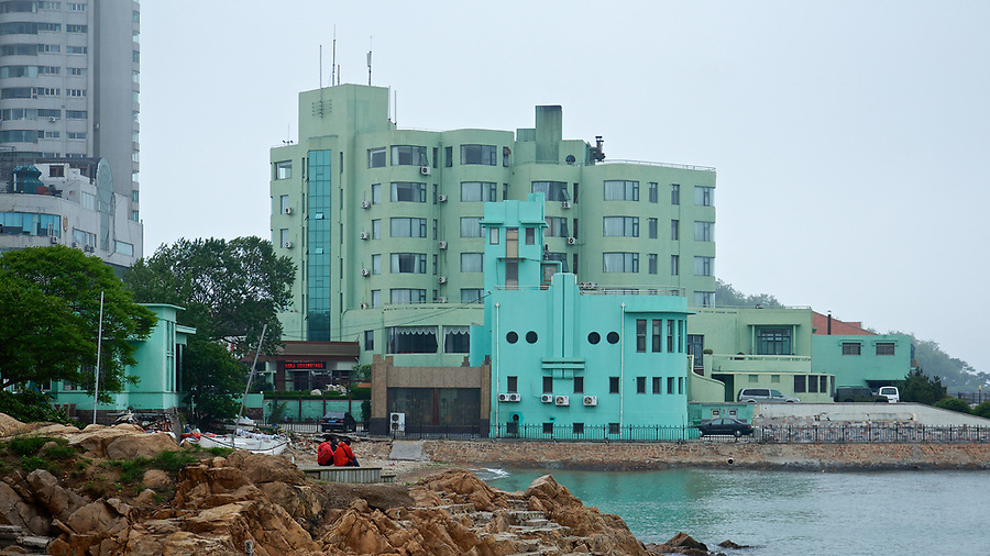Edgewater Mansions Hotel In The Badaguan Area, Qingdao (Tsingtao).  The Attached Lido Is Visible In The Foreground.