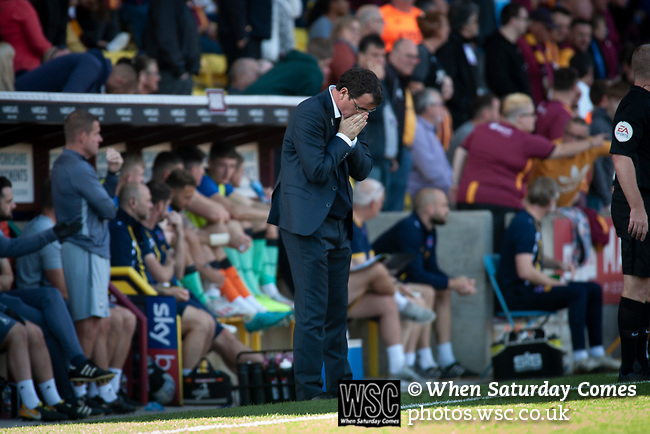 Bradford City 3, Carlisle United 1, 21/09/2019. Valley Parade, EFL League 2. Home manager Gary Bowyer shows his frustration during the first-half as Bradford City played Carlisle United in a Skybet League 2 fixture at Valley Parade. The home team were looking to bounce back after being relegated during a disastrous 2018-19 season on and off the pitch. Bradford won the match 3-1, watched by a crowd of 14, 217. Photo by Colin McPherson.