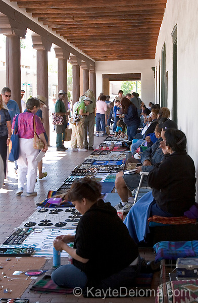 Vendors in the Native American Artisans Program at the Palace of the Governors, Museum of New Mexico, Sante Fe, New Mexico.
