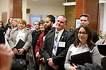 WATERBURY , CT-011619JS08- Participants for the leadership classes for members of the Waterbury Regional Chamber and the Northwest Connecticut Chamber of Commerce, look on during a tour of the building Wednesday at the Republican-American building in Waterbury. <br /> Jim Shannon Republican American