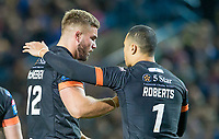 Picture by Allan McKenzie/SWpix.com - 23/03/2018 - Rugby League - Betfred Super League - Leeds Rhinos v Castleford Tigers - Elland Road, Leeds, England - Mike McMeeken congratulated by Ben Roberts.