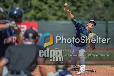 2 August 2016: Vermont Lake Monsters pitcher Branden Kelliher on the mound against the Connecticut Tigers at Centennial Field in Burlington, Vermont. The Tigers defeated the Lake Monsters 7-1 in NY Penn League play.  Mandatory Credit: Ed Wolfstein Photo *** RAW (NEF) Image File Available ***