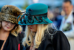 November 3, 2018 : A woman wears a fancy green hat on Breeders Cup World Championships Saturday at Churchill Downs on November 3, 2018 in Louisville, Kentucky. Bill Denver /Eclipse Sportswire/CSM